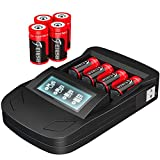 8 Pack 3.7V 800mAh [CAN BE RECHARGED] CR123A Lithium Batteries and LED Digital Display Charger for Arlo Security Wireless Cameras VMC3030 VMK3200 VMS3330 3430 3530, Flashlight, Microphone