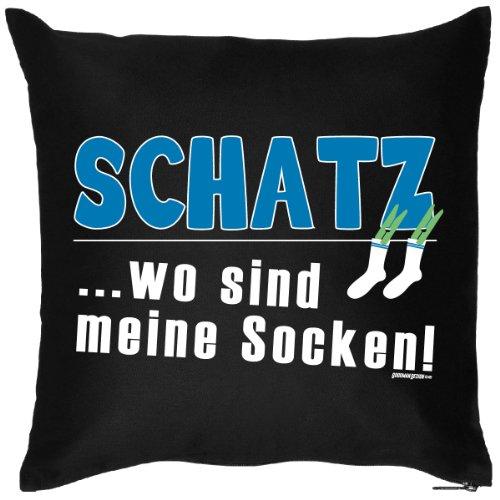 trag-das bedrucktes Sprüche Sofa Kissen: Schatz … Wo sind meine Socken - lustiges witziges Geschenk Dekokissen Couchkissen Sofakissen Geburtstag