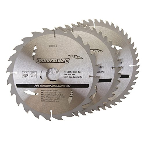 Silverline 690459 TCT Circular Saw Blades 24, 40, 48T 210 x 30-25, 16 mm Rings - Pack of 3