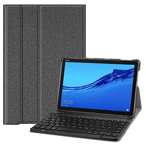 Fintie Tastatur Hülle für Huawei MediaPad M5 Lite 10.1 Zoll - Superdünn leicht Schutzhülle Keyboard Hülle mit magnetisch Abnehmbarer Bluetooth Tastatur mit QWERTZ Layout, Jeansoptik dunkelgrau