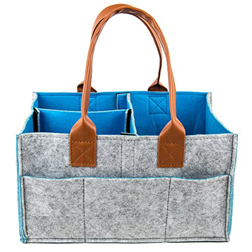 Havenwell Baby Diaper Caddy- Premium Portable Diaper Storage Bag- Nursery Bin for Diapers, Baby Wipes, Toys- Leather Handles- Ideal for Car and Travel- Perfect Baby Shower Gift for Boys and Girls