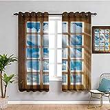 Decoración de la casa al aire libre cortina de madera ventana con rayos de sol desde la vista del cielo y las nubes tela impermeable W63 x L45 pulgadas