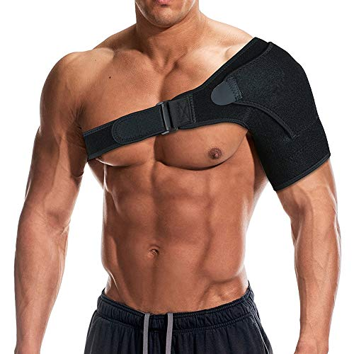 Shoulder Support Brace with Pressure Pad for Men Women, Adjustable Shoulder Brace for Torn Rotator Cuff, Tendonitis, Dislocation, AC Joint, Bursitis, Labrum Tear, Pain, Fits Right or Left Shoulder