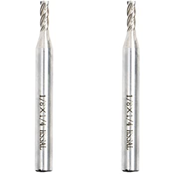 """AUTOTOOLHOME 1/8"""" X 1/4"""" HSS 4 Flutes Straight End Mill Cutter Pack of 2"""
