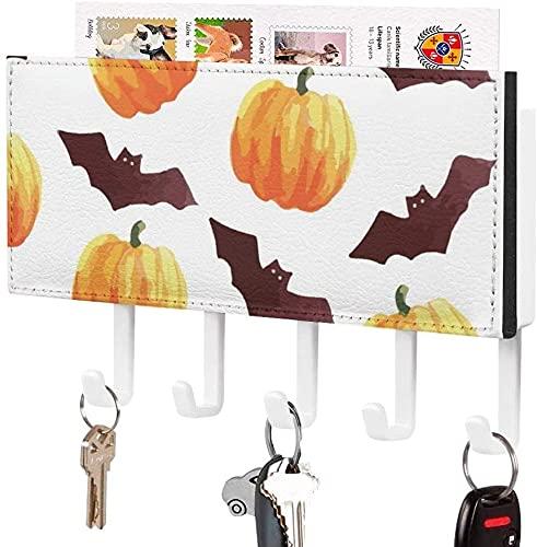 Soporte para llaves para gancho para llaves montado en la pared, Noche de Halloween, Día de Todos los Santos, Cielo naranja, Árbol aterrador, Soporte para correo de entrada a la pared, Organizador de