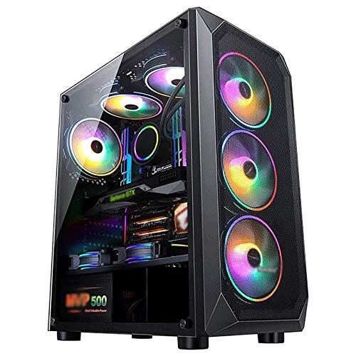 ZXFF Consola De Juegos, Caja ATX Mid-Tower Gaming Case con 1 Ventana De Vidrio Transparente, Panel De E/S USB3.0 / USB2.0 / Puerto De Audio, Panel Personalizado, Iluminación Smart RGB