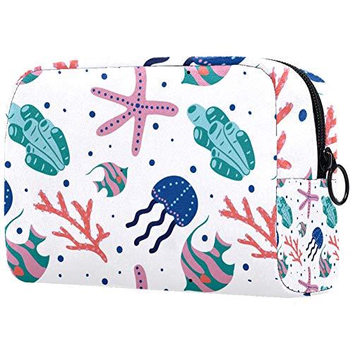 Makeup Bag Portable Travel Train Case Cosmetic Bag for Women, Beauty Zipper Makeup Organizer Storage Bag Coral Starfish…