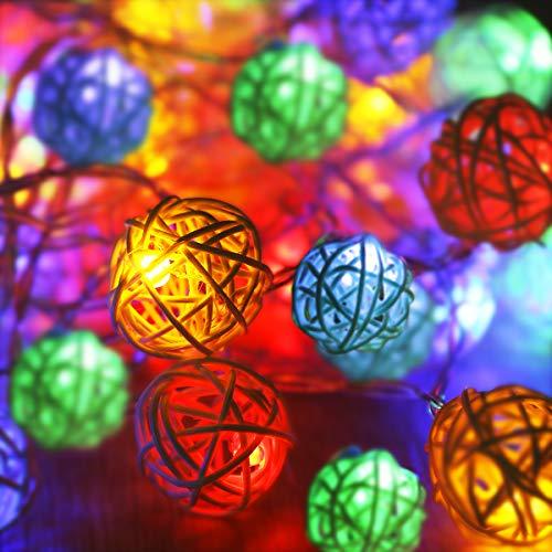 LED Lichterkette, 5M 40Leds Rattan Lichterkette Rattan ball lichter mit Batteriebetrieben Fernbedienung Innen und Außen Lichterkette für Gärten Häuser Outdoor,Party,Weihnachten, Halloween (Farbe)