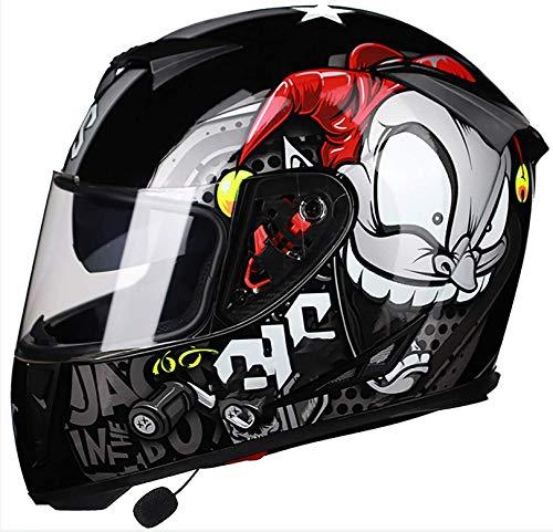 WWJ Bluetooth opklapbare motorhelm, straatmotorfietsscooter Integraalhelmen voor volwassenen, jeugd Mannen en vrouwen Vizieren Volwassen fiets Bromfiets Motorcrosshelm Dot-gecertificeerd