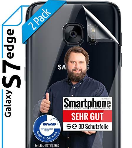 [2 Stück] 3D Schutzfolien für die Rückseite kompatibel mit Samsung Galaxy S7 Edge [Made in Germany - TÜV NORD] - Transparent - Selbstheilend - kein Glas - Panzerfolie TPU - Klar- Back - Hinten
