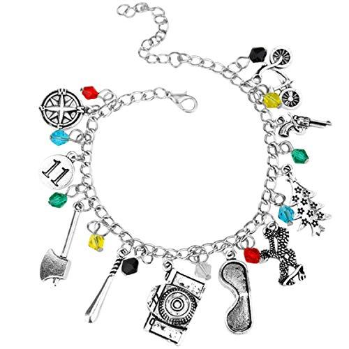 Braccialetto con ciondoli scintillanti ispirati a Stranger Things, con confezione regalo, per ragazze o donne