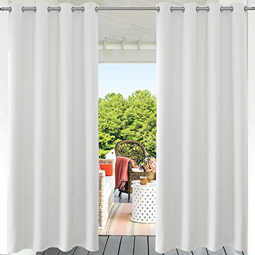 PRAVIVE Privacy Porch Outdoor Curtains - Outdoor Deck Décor Grommet Drape Thermal Insulated Blackout Patio Sun Shade/Blind/Drappery for Pergolas and Gazebos, 52' x 108', White,1 Panel