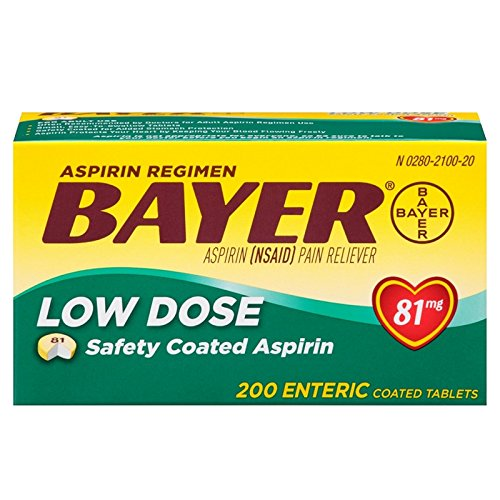 Aspirin Regimen Bayer 81mg Enteric Coated Tablets, #1 Doctor Recommended Aspirin Brand, Pain Reliever, 200 Count