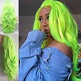 Perücke, fluoreszierend, grün, für Damen, lang, gewellt, Synthetik, Lace-Front-Perücke, mit natürlichem Haar, Pastellgrün, hitzebeständig, für Cosplay-Perücken für Partys, 61 cm