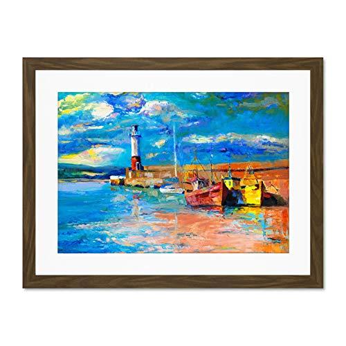 Wee Blue Coo Boats Tide out Painting Póster de Pared de Cuadros Grandes Enmarcado 18x24 Pulgadas