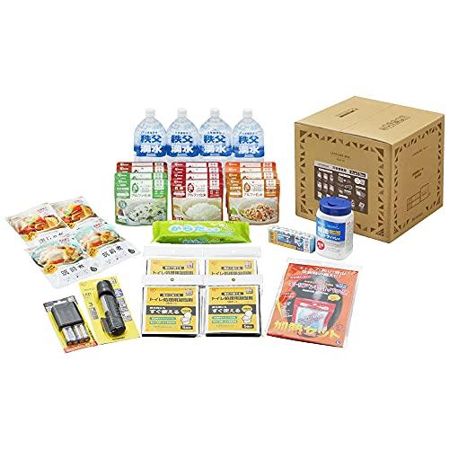 アイリスオーヤマ 防災グッズ ライフラインボックス 2人用 30点 NLB-30 簡易トイレ 除菌シート 災害セット 非常用 保存食 保存水