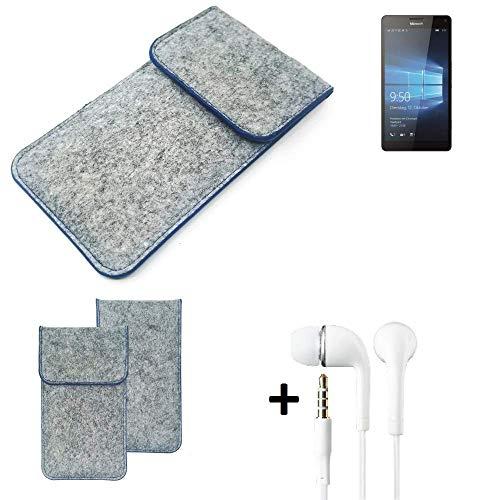 K-S-Trade Filz Schutz Hülle Für Microsoft Lumia 950 XL Dual SIM Schutzhülle Filztasche Pouch Tasche Handyhülle Filzhülle Hellgrau, Blauer Rand + Kopfhörer