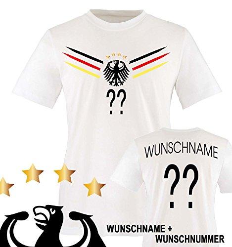 Comedy Shirts - Deutschland WM 2014 - Wunsch - Kinder T-Shirt - Weiss/Schwarz-Rot-Gelb Gr. 134-146