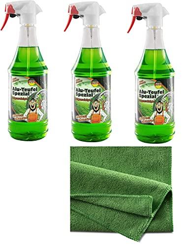 Hygiene VOS Felgenreiniger Set 3 x TUGA Chemie Sprühflaschen gesamt 3000ml Plus 3 Microfasertücher lackschonend