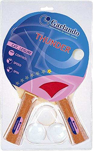 Garlando Thunder Tischtennis-Zubehör-Set (2 Schläger/Paddel und 3 Bälle)