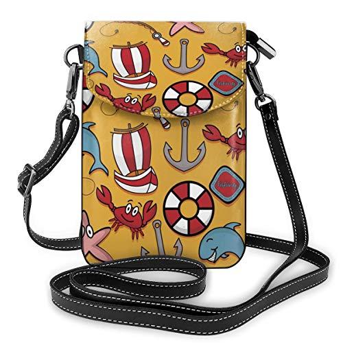 Generic Angeln Krebs Rettungsring Boot Vector Bild Kleine Umhängetasche Crossbody Handy Portemonnaie – Frauen PU Leder Handtasche mit verstellbarem Riemen für den Alltag
