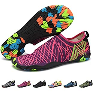 Customer reviews Upstartech Barefoot Water Shoes Mens Womens Quick Dry Unisex Sports Aqua Shoes Lightweight Durable Sole For Beach Pool Sand Swim Surf Yoga Water Exercise (6UK/39EU, Style 2)