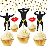 JeVenis Set of 25 Bachelorette Party Cupcake Toppers Male Stripper Cupcake Toppers Hen party Cupcake Toppers for Bachelorette Party Hen Party Decor