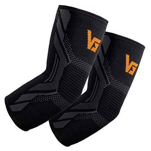 Elbow Brace Elbow Compression Support (1 Pair) - Vinsguir Tennis Elbow Brace for Tendonitis, Elbow Treatment, Volleyball, Golfers, Arthritis, Weightlifting (Black, Large)
