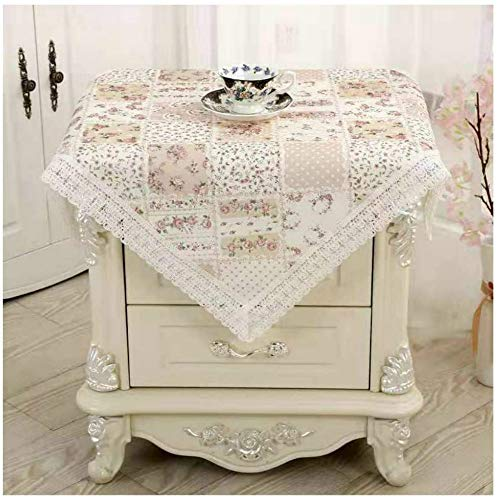 Bettop Tablecloth, Bedside Tablecloth, Bedside Tablecover,Bedside Table Dustcover,Bedside Tabletop Home Decoration,Table Covering Doilies for Furniture (Pastoral Brown)