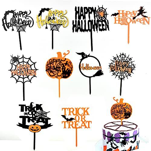 TONAUP 10 unidades de decoración para tartas de Halloween, Happy Halloween Cupcake Topper acrílico, dibujos animados, postres, temática personalizada de fiesta