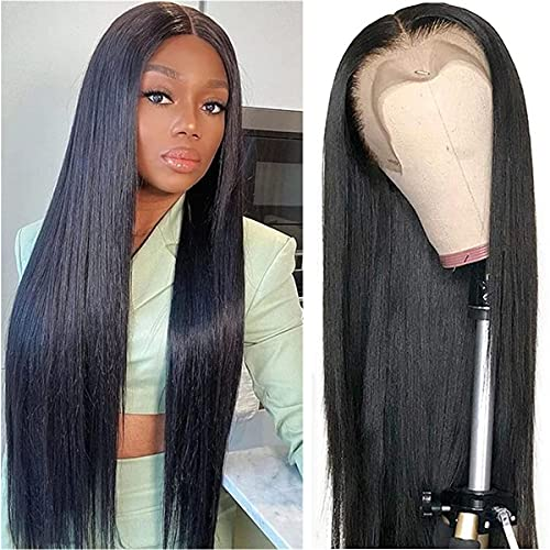 AILIF Straight Lace Front Wigs Human Hair 13x4 HD Lace Frontal Human Hair Wig Pre Plucked for Women 150% Density Brazilian Virgin Human Hair Wigs with Baby Hair Natural Color (22 Inch)