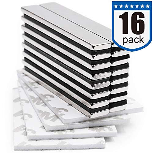 DIYMAG Strong Neodymium bar Magnets with DoubleSided Adhesive Rare Earth Neodymium Magnet  60 x 10 x 3 mm Pack of 16