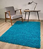 The Rug House - Alfombra mullida Rectangular, Color Azul, Azul, 60 x 110 cm