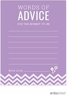 Andaz Press Lavender Chevron Girl Baby Shower Collection, Games, Activities, Decorations, Advice for the Mommy to Be Cards, 20-pack