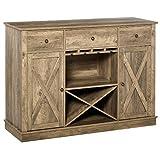 homcom mobile cucina stile vintage 3 cassetti e 2 armadietti, credenza in legno portabottiglie con appendi calici 120x40x87.5cm