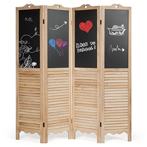 COSTWAY 4 Panel Folding Room Divider with Chalkboard, Double-Sided Wooden Wall Privacy Screen...