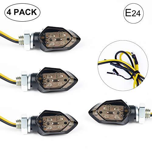 EXLECO 4Pcs LED Motorrad Blinker 12V LED Micro Blinker Universal SMD Mini blinker Motorrad mit E-Prüfzeichen für Motorrad/ Motocross/ Fahrrad
