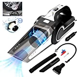 Portable Car Vacuum Cleaner with Air Compressor Pump, DC12V 120W 4500Pa High Power Handheld Vacuum with LED Light, 3 Nozzle, Wet/Dry Use, for Car Interior Cleaning, Tire Inflator + 2 Filter