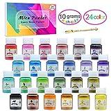 Mica Polvere - 24 Colori x 10g di Pigmenti in Polvere Colorata Naturale per Resina Epossidica - Colorante di Grado Cosmetico per Colorare Sapone, Bombe da Bagno, Nail Art, Pittura - Totale 240g