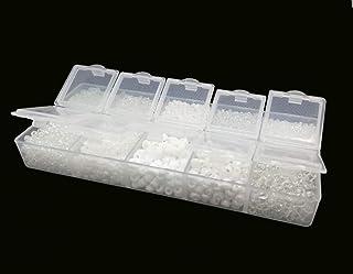 Rocailles - Juego de perlas blancas de 2 mm, 3 mm, 4 mm, con caja clasificadora, 120 g, perlas de cristal de colores en caja, juego de perlas redondas para manualidades, perlas pequeñas para enhebrar