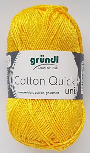 Gründl Wolle 50 Gramm Cotton Quick 100% Baumwolle (mercerisiert, gasiert, gekämmt (138 Sonnengelb)