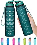 Elvira 32oz Large Water Bottle with Motivational Time Marker & Removable Strainer,Fast Flow BPA Free Non-Toxic for Fitness, Gym and Outdoor Sports-Blackish Green