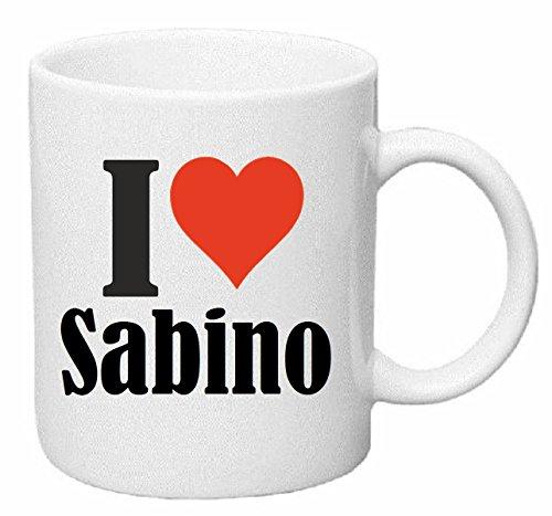 taza para café I Love Sabino Cerámica Altura 9.5 cm diámetro de 8 cm de Blanco