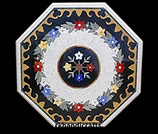 30 Inches Marble Coffee Table Top Inlay Art Center Flower Unique Design Handmade Work