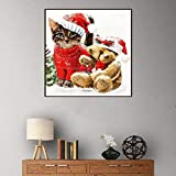 JRGGPO Kit de Pintura de Diamante 5D DIY Pintura Punto de Cruz Navidad Gatito y Cachorro Bordado Mosaico Regalos 40x40cm