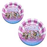 Girl Game Party Birthday Plates, Sandbox Game Plate Party Supplies Decorations 24 Packs 9 Inch & 7 Inch Pink White