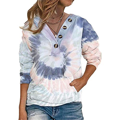 ZFQQ Autumn and Winter Women's tie-dye Printing Loose Button Long-Sleeved Sweater Dark Blue