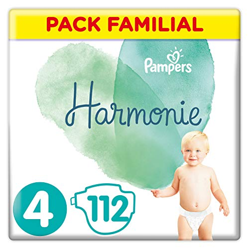 Couches Pampers Taille 4 (9-14 kg) - Harmonie Couches, 112 couches, Pack Familial