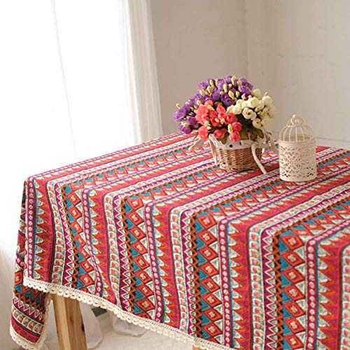 HIGHKAS Rojo Boho Floral Borla Mantel Algodón Lino Rústico Extra Grande Hogar Cocina Comedor Banquete Mesa Cubierta de Mesa Decorativa Estera de Picnic
