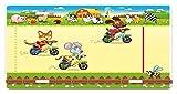 Tierkennzeichen, Rennmauskatze und -hund auf dem Fahrrad in der Nutztier-Comic-Karikatur-Illustration, Hochglanz-Aluminium-Neuheitsschild, mehrfarbig